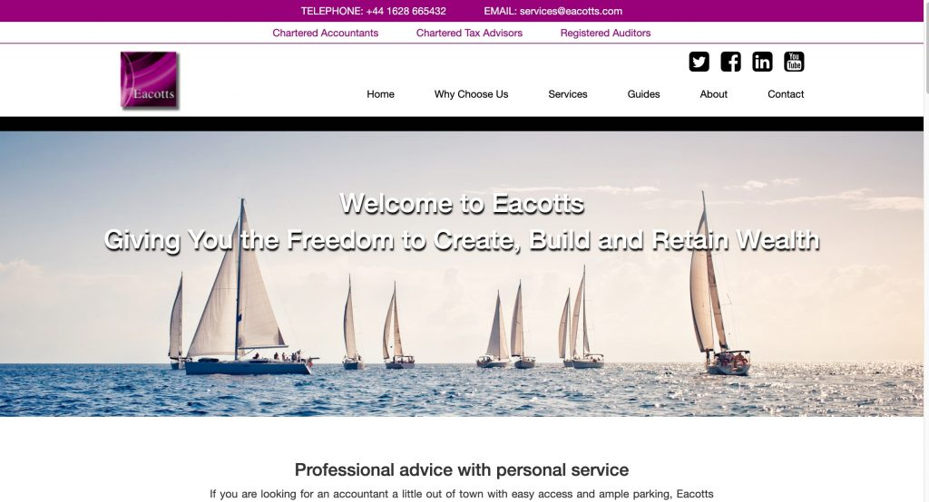 The Home Page of Eacotts Website built with a bespoke theme
