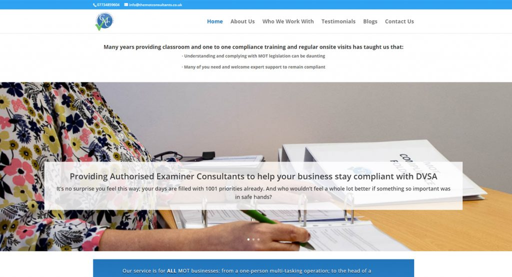 The MOT Consultancy Home Page with branding similar to clients other sites