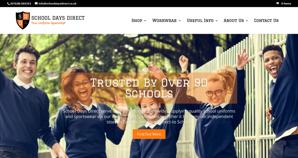 An example of refreshed and re-branded School Days Direct eCommerce Website