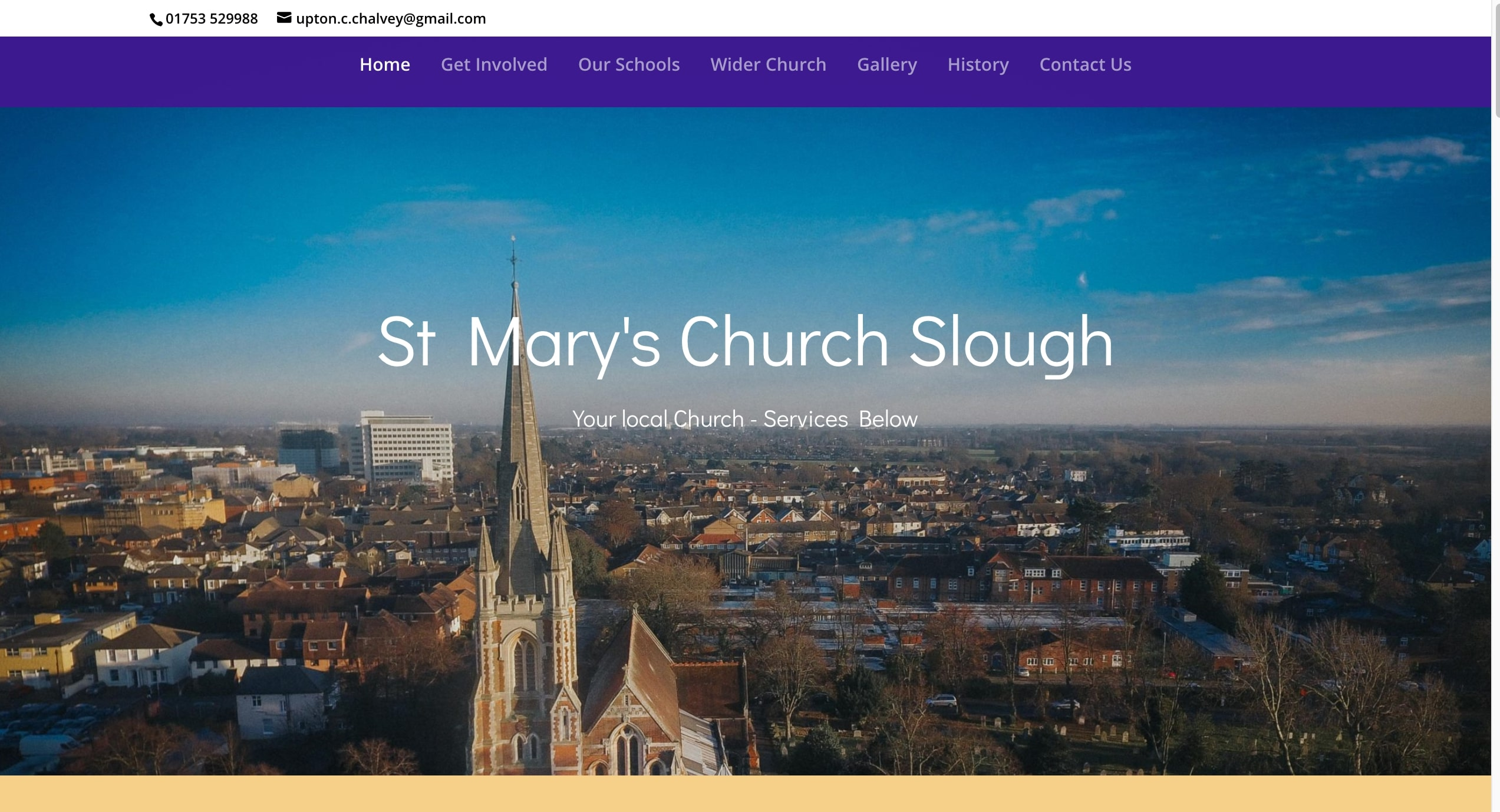 The Home page of St Marys Church In Slough - built using a off-the-shelf themed design