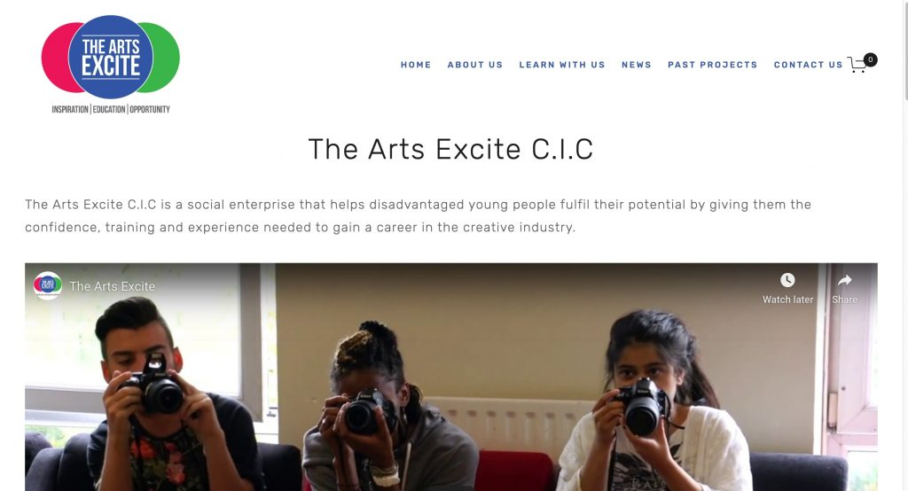 Arts Excite Main Website page which was built on a tight client budget